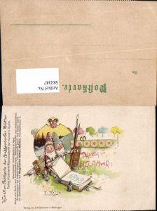 583347,Künstler AK F. Reiss Neujahr Zwerge Meggendorfer Blätter Neujahr Malerei