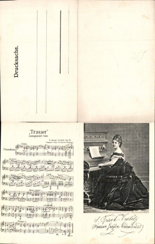583490,Klapp Liedkarte Trauer S. Brand Vrabely Gräfin Wurmbrand Stuppach Klavier