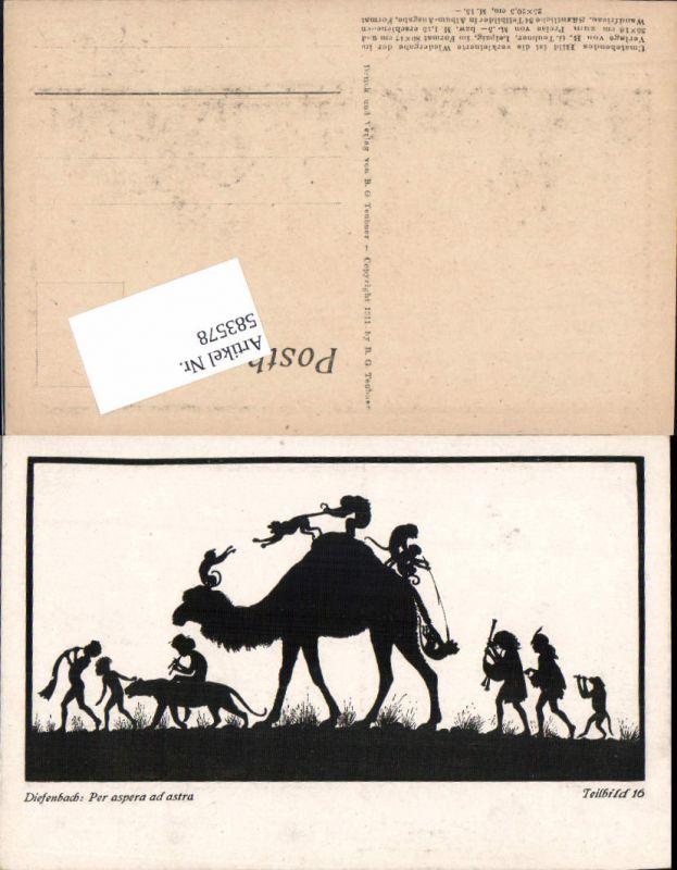 583578,Scherenschnitt Silhouette Diefenbach Per aspera ad astra 16 kamel