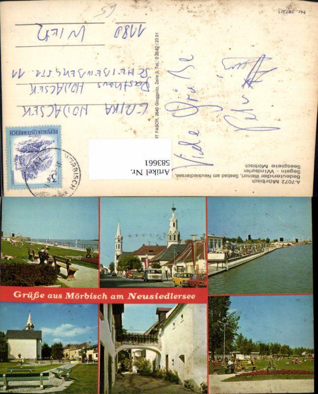 583661,Mehrbild Ak Mörbisch am See Ansichten Kirche Bus Uferpromenade