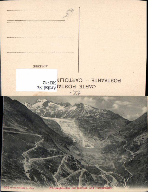583742,Rhonegletscher m. Grimsel- u. Furkastrasse Gletscher Gletsch Switzerland