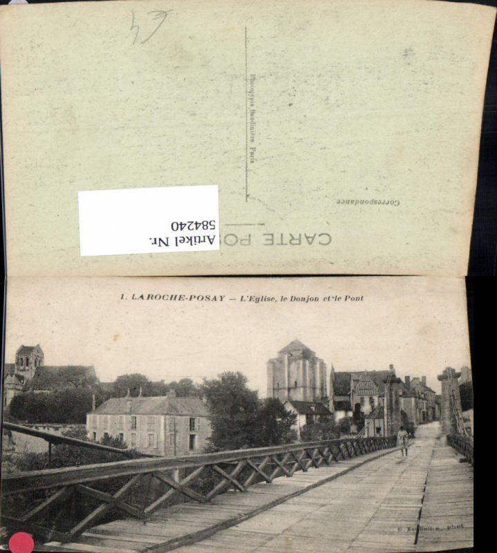 584240,Laroche-Posay L Eglise le Donjon et le Pont Brücke France
