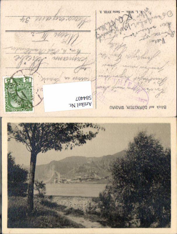 584407,Blick auf Dürnstein in der Wachau Donau pub Kilophot K.L. Ser. XVIII. 3.