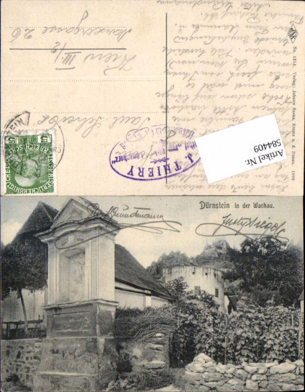 584409,tolle AK Dürnstein in der Wachau Donau Ortspartie Kapelle