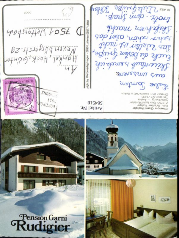 584518,Mehrbild Ak Gortipohl Sankt Gallenkirch Montafon Pension Garni Rudigier Winteransicht