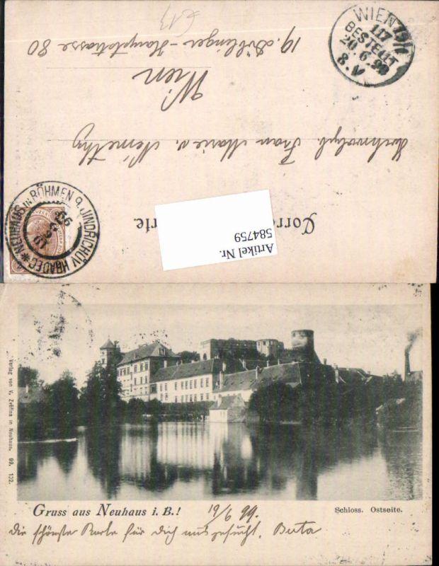 584759,Gruss aus Neuhaus in Böhmen 1899 Jindrichuv Hradec