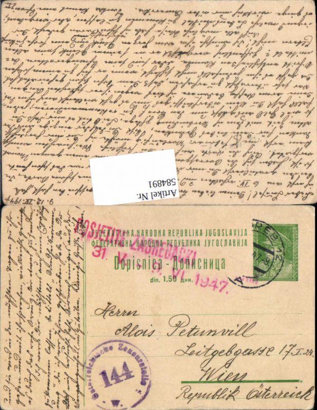 584891,Zensur Beleg Jugoslawien nach Wien  1947 Zensurstelle 144