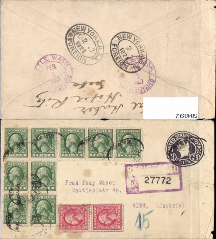 Registered Letter USA Seattle Washington via New York to Vienna Austria Wien Hotel Ritz