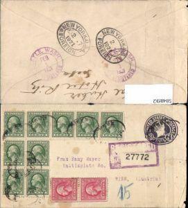 Registered Letter USA Seattle Washington via New York to Vienna Austria Wien Hotel Ritz