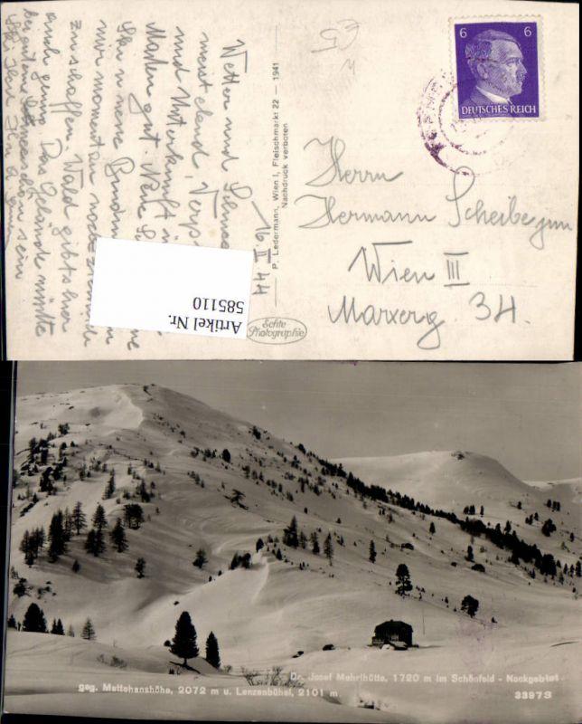 585110,Foto Ak Dr. Josef Mehrlhütte Thomatal Schönfeld Nockgebiet Winteransicht