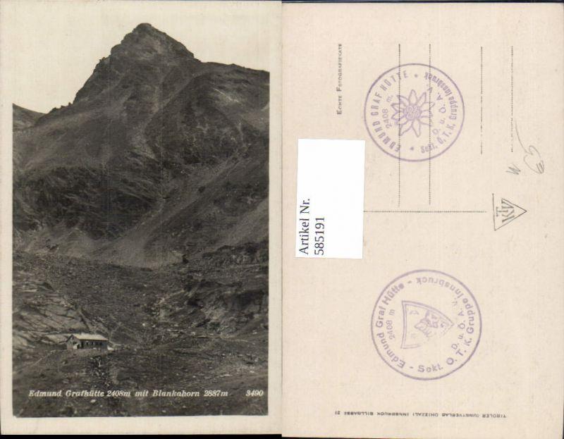 585191,Foto Ak Pettneu am Arlberg Edmund Grafhütte Edmund Graf Hütte m. Blankahorn