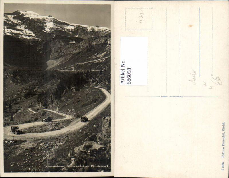 586058,Foto Ak Klausenstrasse Rennstrecke m. Claridenstock Auto Klausenpass Altdorf Switzerland