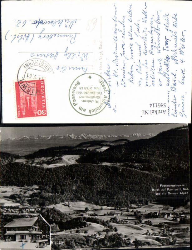 586114,Passwangstrasse Mümliswil-Ramiswil Blick auf Ramiswil u. d. Berner Alpen Switzerland