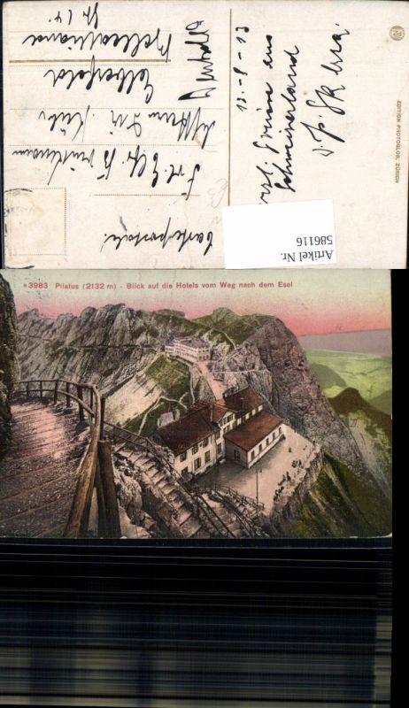 586116,Pilatus Blick auf d. Hotels v. Weg nach dem Esel Alpnachstad Alpnach Switzerland