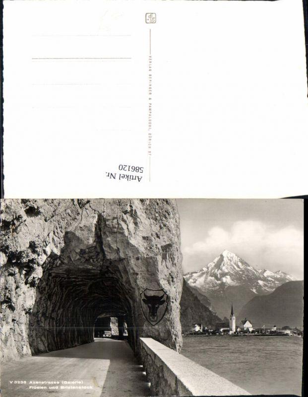 586120,Foto Ak Axenstrasse Galerie Flüelen u. Bristenstock Tunnel Switzerland