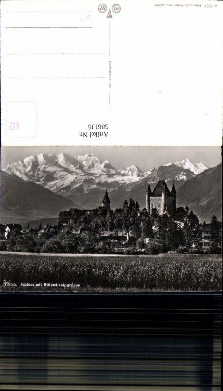 586136,Foto Ak Thun Schloss m. Blüemlisalpgruppe Switzerland