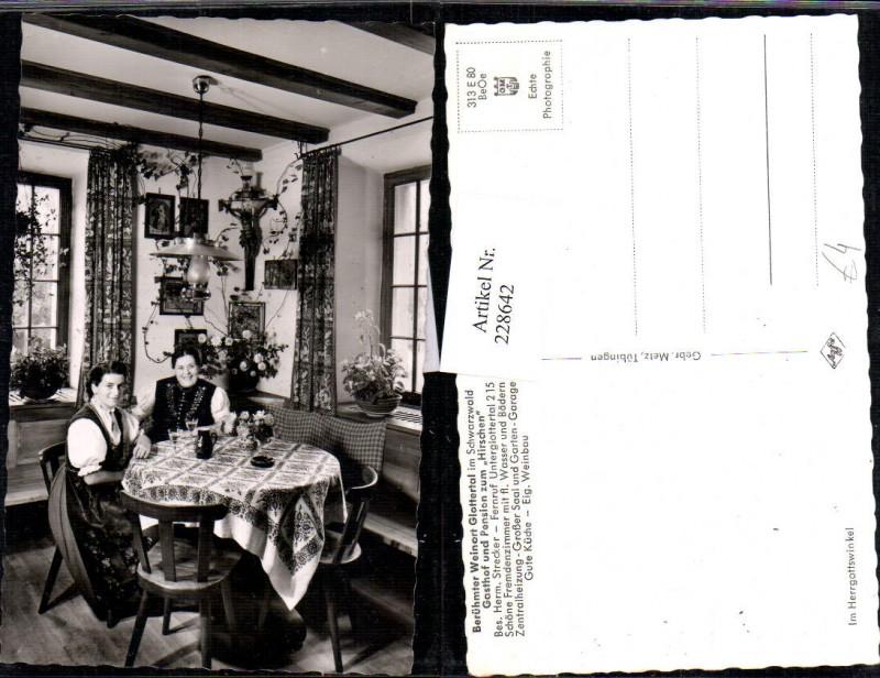 228642,Glottertal im Schwarzwald Gasthof u. Pension zum Hirschen Bes. Herm. Strecker Frauen i. Tracht