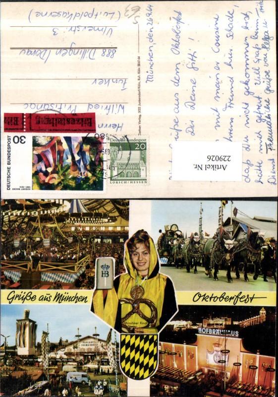 229026,Grüße aus München Oktoberfest Hofbräuhaus Bierkrug Brezel Bier Mehrbildkarte Eilzustellung Stempel