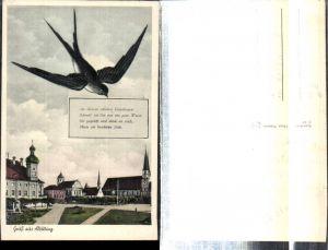308376,Gruß aus Altötting Kirchen Schwalbe Text Spruch