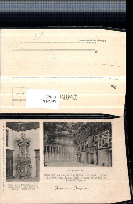 317625,Gruß aus Augsburg Rathaus Goldener Saal Ofen Mehrbildkarte pub Carl Otto Hayd 5687