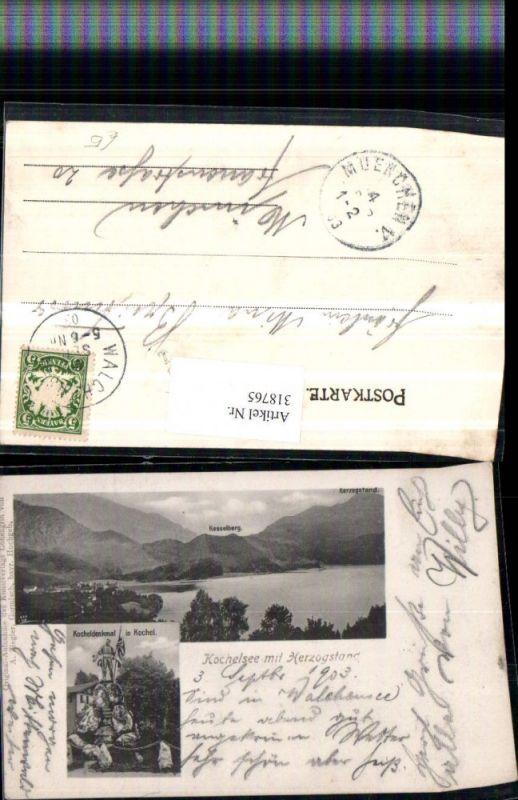 318765,Kochelsee m. Herzogstand b. Kochel Denkmal Mehrbildkarte