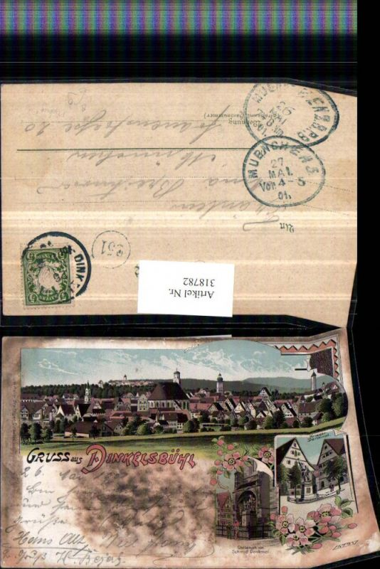318782,Litho Gruß aus Dinkelsbühl Totale Krieger-Denkmal u. Schmid-Denkmal Mehrbildkarte