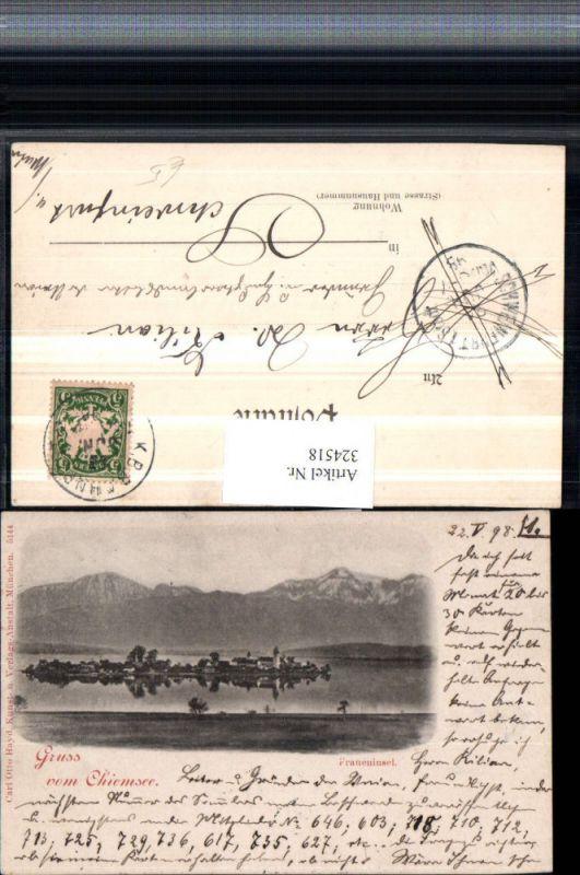 324518,Gruß vom Chiemsee Fraueninsel Totale Bergkulisse pub Carl Otto Hayd 5144