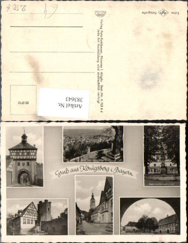 383643,Gruß aus Königsberg in Bayern Totale Marktplatz Brunnen Tor Mehrbildkarte