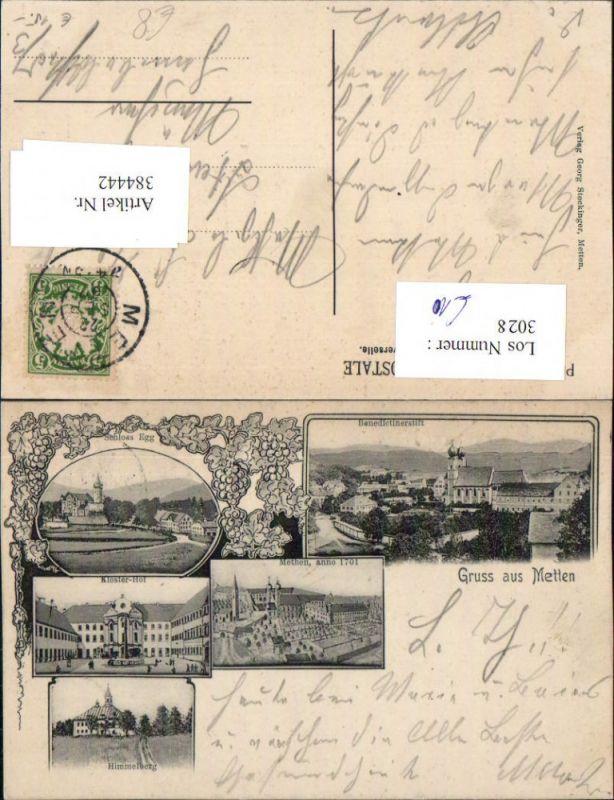 384442.LItho Gruß aus Metten Totale Stift Kloster Schloss Egg Himmelberg Mehrbildkarte