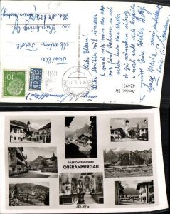424971,Oberammergau Totale Straßenansichten Kirche Innenansicht Mehrbildkarte