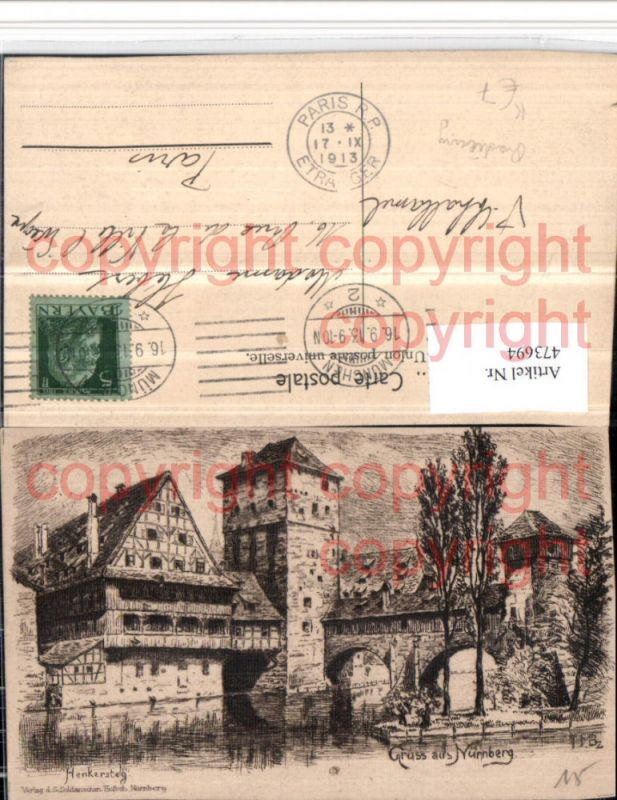473694,Künstler AK Radierung Nürnberg Henkersteg Turm