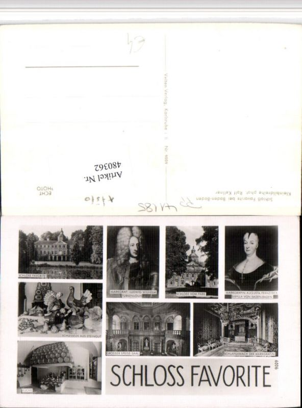 480362,Baden-Baden Schloss Favorite Speisesaal Küche Mehrbildkarte