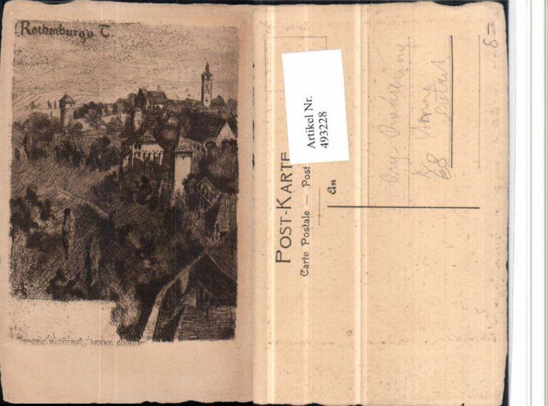 493228,Künstler AK Anne Siebert Radierung Rothenburg ob d. Tauber Teilansicht