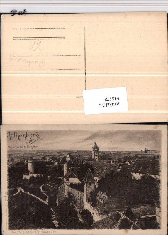 515278,Künstler AK Radierung G.O. Dietrich Rothenburg ob d. Tauber Mauerpartie