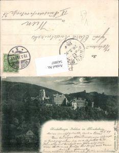 542897,Mond Litho Heidelberg Schloss im Mondschein pub König