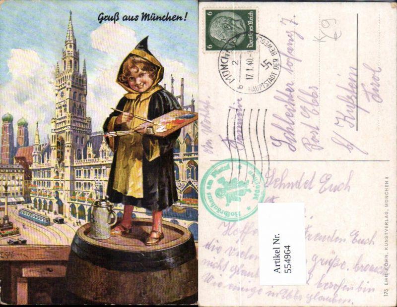 554964,tolle Künstler AK E. Schlemo Gruß aus München Palette Münchener Kindl Bier Bierkrug