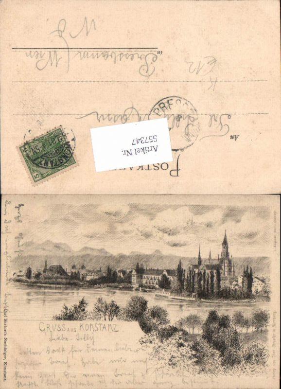 557347,tolle Künstler Radierung Gruß aus Konstanz am Bodensee pub Theo Stroefer