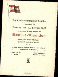 Klagenfurt Einladung Ruderklub Segelklub Nautilus Kränzchen 1878 Sandwirt