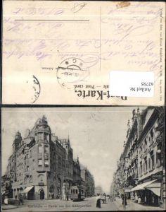 62795,Karlsruhe Partie aus der Kaiserstrasse Strassenansicht mit Strassenbahn 34 u Personen 1906