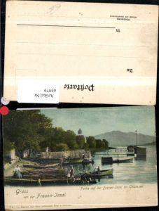 63979,Gruss von der Frauen-Insel Partie auf der Fraueninsel im Chiemsee Ansicht Boote mit Personen