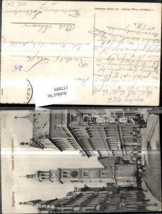 157099,Augsburg Rathaus m. Perlachturm Strassenansicht m. Personen 1912