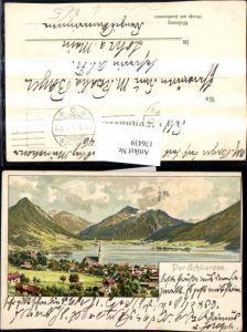 176439,Künstler AK Otto Strützel Schliersee Teilansicht Litho pub Velten