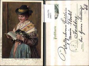 188077,Künstler Ak E. v. Müller Mädchen v. Tegernsee Tracht Typen