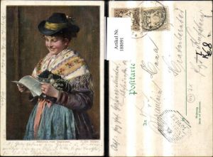 188091,Künstler Ak E. v. Müller Litho Mädchen a. Tegernsee Tracht Typen