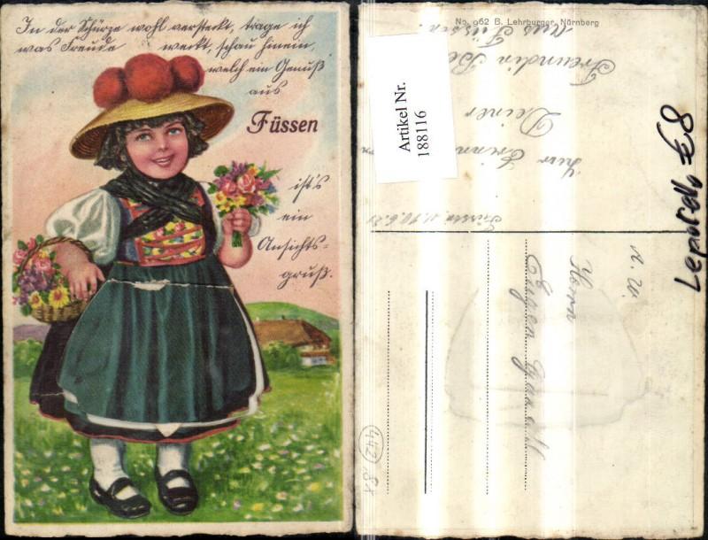 188116,Füssen Leporello Mädchen i. Tracht Blumen