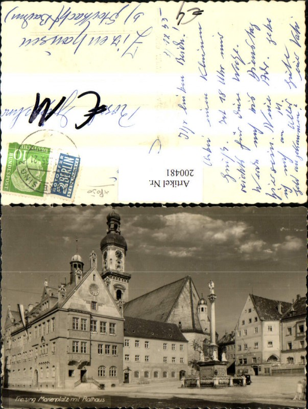 200481,Freising Marienplatz m. Rathaus Platz Säule Kirche