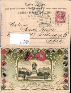 587341,Präge Litho Geneve Genf Monument National Fahne Wappen Patriotik Switzerland