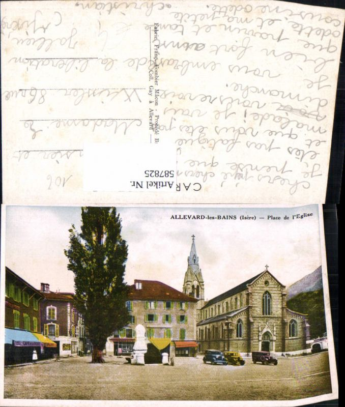 587825,Allevard-les-Bains Isere Place de l Eglise Kirche Automobil Oldtimer France
