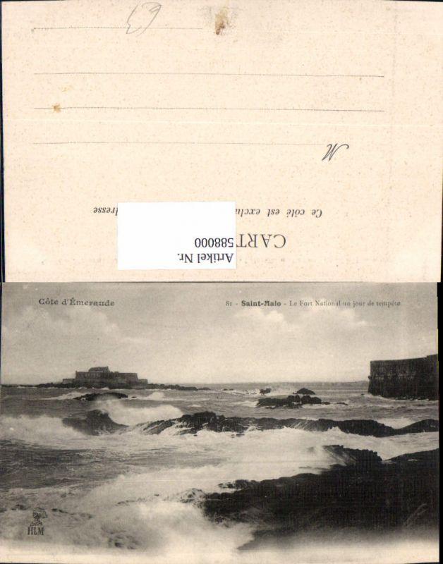 588000,Cote d Emeraude Saint-Malo Le Fort National un jour de tempete Brandung Küste France