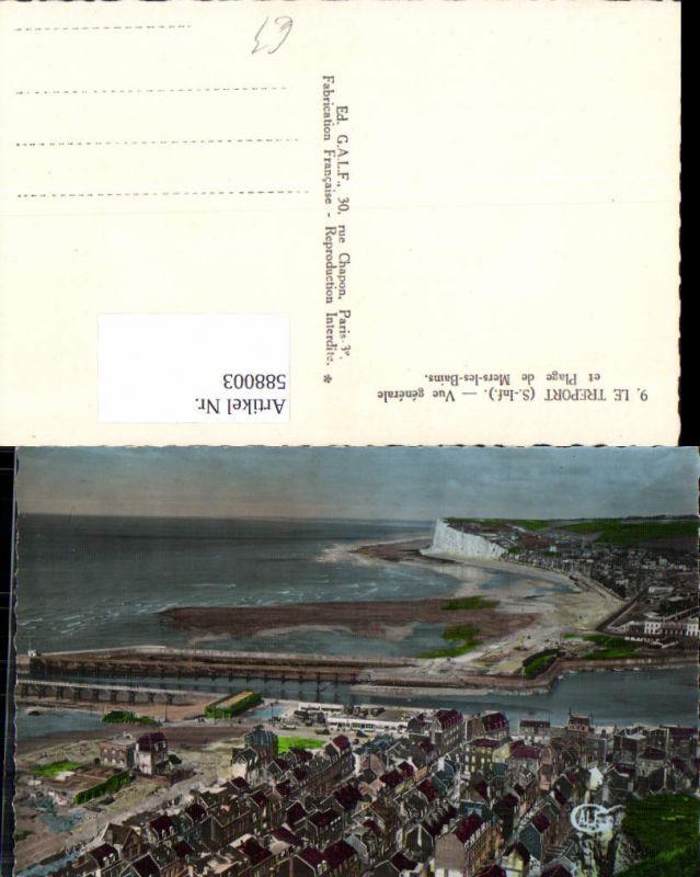 588003,Le Treport Seine-Infereure Vue generale et Plage de Mers-les-Bains Strand Küste France